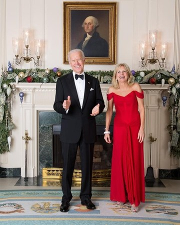 Joe and Jill Biden Posing for Holiday Photograph
