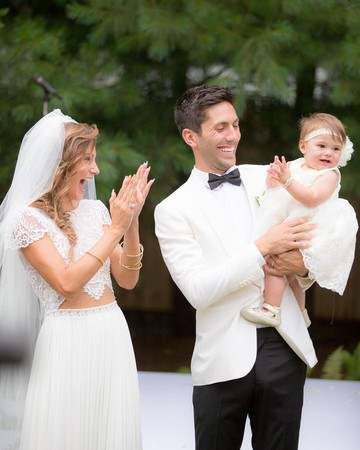 Nev Schulman and Laura Perlongo at wedding with daughter Cleo