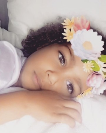 North West Wearing Snapchat Filter Flower Crown