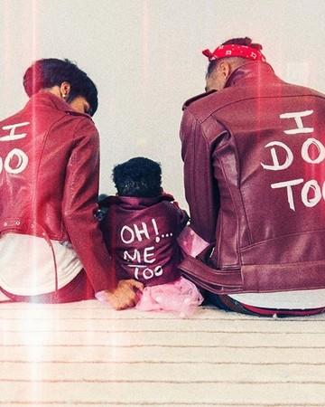 Teyana Taylor and Iman Shumpert wedding photo with baby and custom jackets