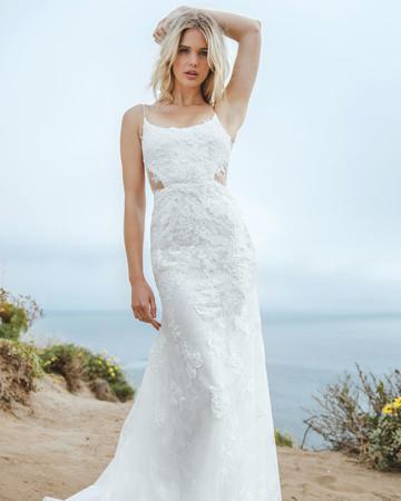sabrina dahan spaghetti strap lace wedding dress spring 2018