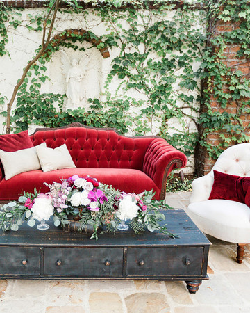 wedding reception seating, red and white vintage lounge furniture