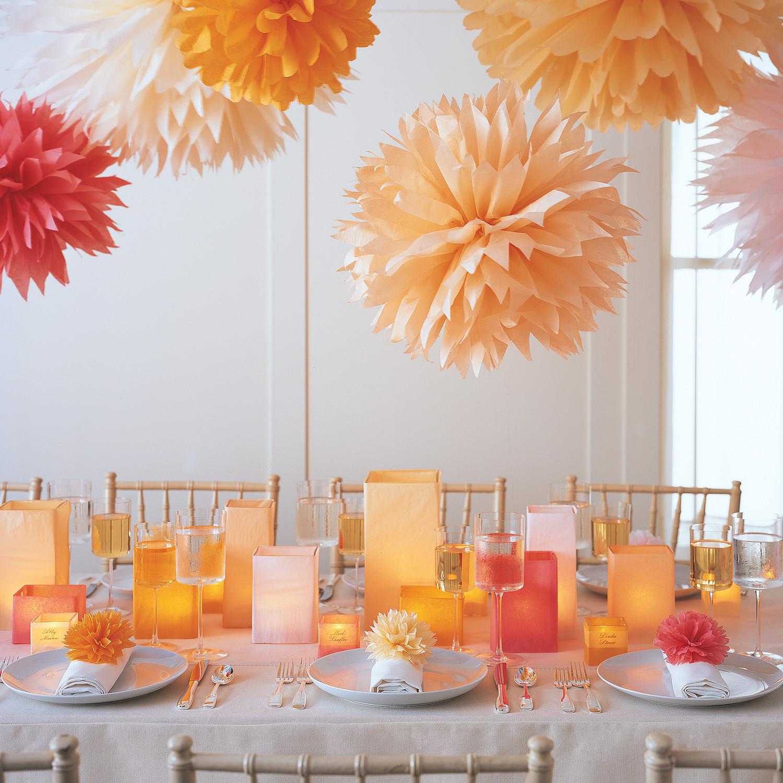 pom poms and luminarias martha stewart weddings. Black Bedroom Furniture Sets. Home Design Ideas