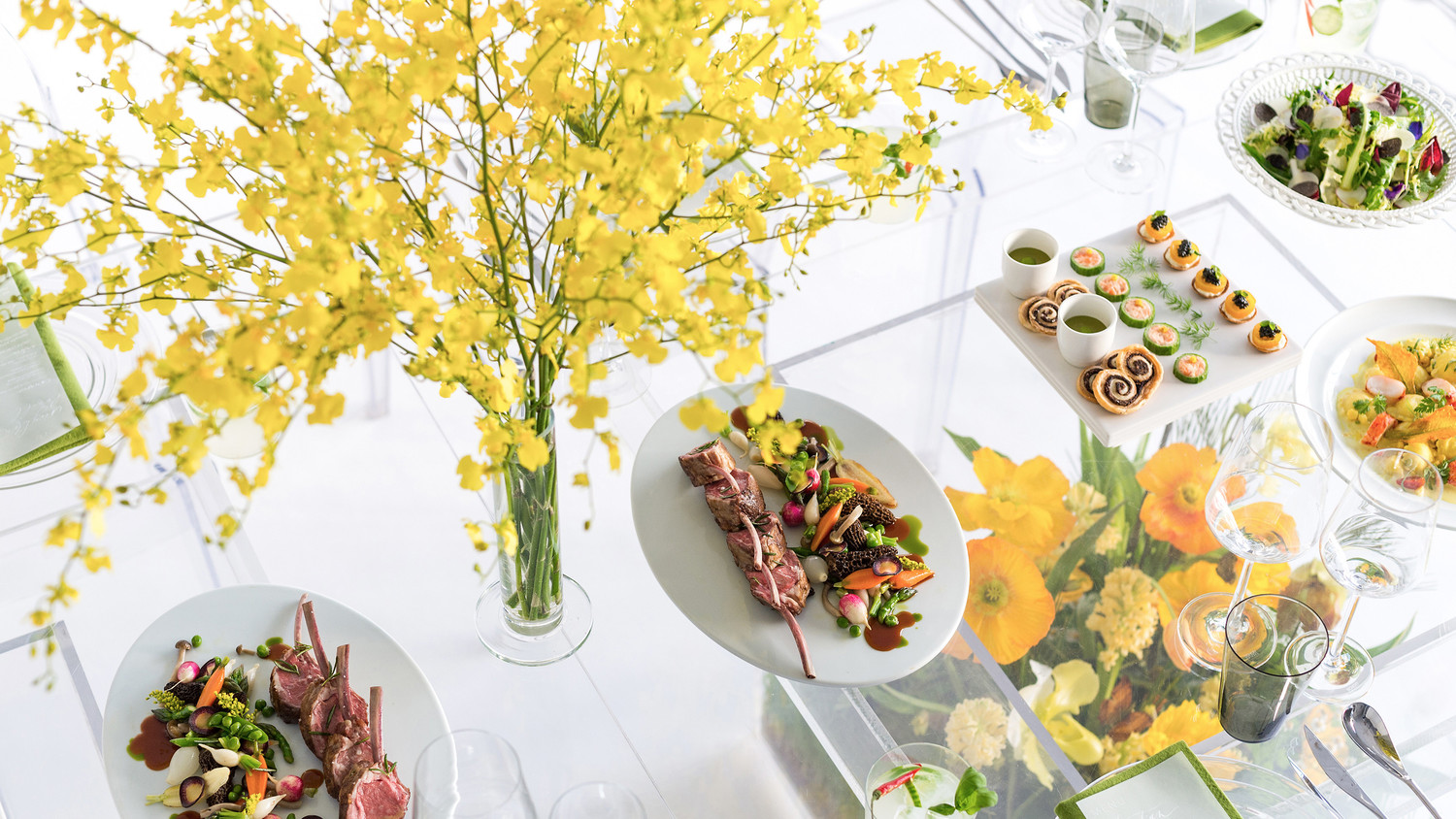 Chris Hessney Spring Shoot Forsythia Centerpiece and Seasonal Food
