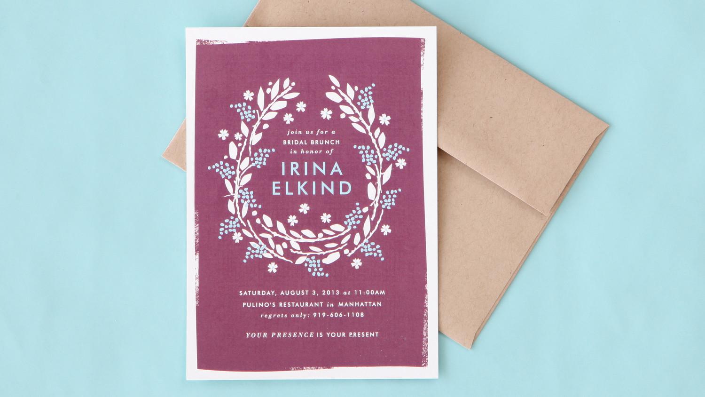 Bridal shower invitation wording made simple martha stewart weddings for Wedding invitations wording martha stewart