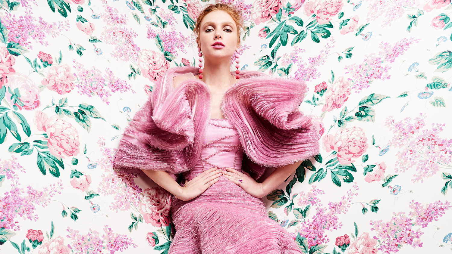 pink gown with wrap