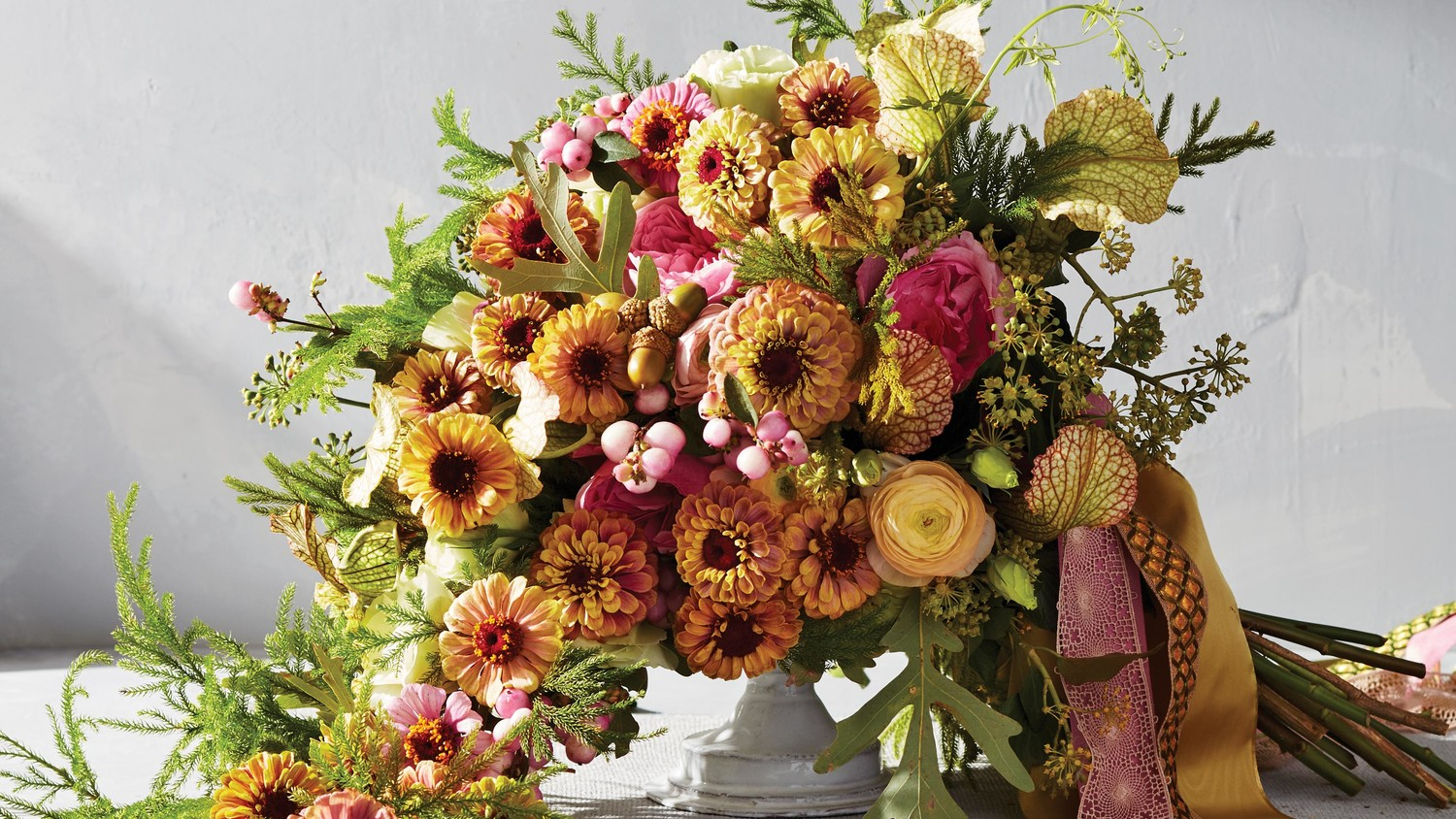 """""""Queen Red Lime"""" and """"Zinderella Lilac"""" Zinnia Arrangement"""