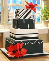 Black, White, and Red Wedding Cake