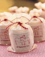 Muslin Bags with Custom Wedding Stamp