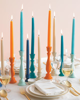 Blue and Orange Candleholder Centerpiece