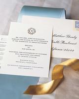 wedding invitation with gold