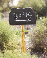 """Calligraphed """"Right This Way"""" Sign"""