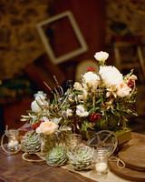 Succulent Centerpiece with Mini Candles