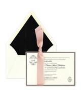 black and pink wedding invitation