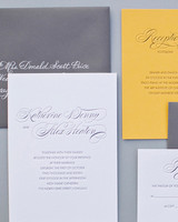 brown and cream wedding invitation