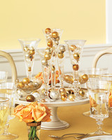 Gold and Silver Sphere Ornament Centerpieces