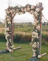 Rustic Pink and White Floral Wedding Arch