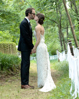 Wendy and Ben's Navy-and-Taupe Backyard Tent Wedding in Georgia