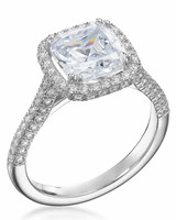 Micropave Cushion-Cut Engagement Ring from Michael C. Fina