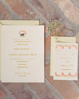 Traditional Wedding Invitation With Red And Green