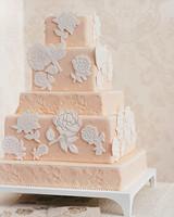 Rose-Stamped Wedding Cake