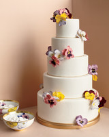 Wedding Cake with Hand-Painted Pansies