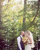 A Whimsical Yellow-Colored Rustic Wedding at a Camp in Maine