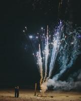 beach wedding fireworks