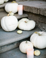 White Pumpkins and Candles on Staircase