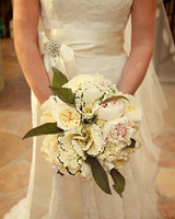 White Wedding Bouquet with Kale