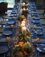 Candle Pillars in Foliage Table Runner