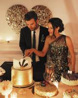 Bride in Black One-Shoulder Wedding Dress With Metallic Sparkles