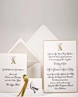 yellow, gray, and white wedding invitation