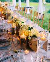 Flower-Filled Log and Candle Centerpiece