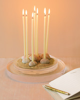 Tall Candles Standing in Dried Sea Urchins