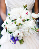 White Wedding Bouquet with Blue and Purple Accents