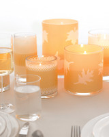 Leaf-Patterned Fall Candles