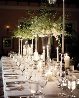Tall Silver Candlelit Urn Centerpieces