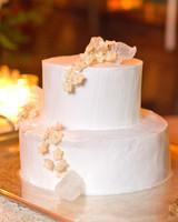 Small White Cake with Sugar Jasmine Flowers
