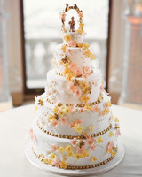 Wedding Cake with Pink, Yellow, and Gold Flowers