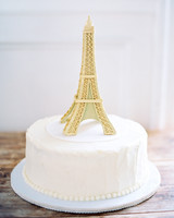 Wedding Cake with Eiffel Tower Topper