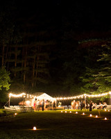 lit outdoor reception at night