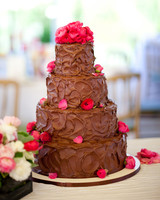 Chocolate Wedding Cake with Pink Petals