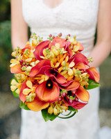 Bright orange calla lily wedding bouquet