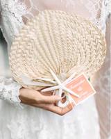 palm-leaf wedding fans