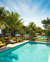 hotel pool lounge area
