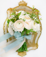 Small Blush Ranunculus Bouquet Tied with Blue Ribbon