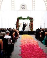 Ombré Rose Petal Ceremony Aisle
