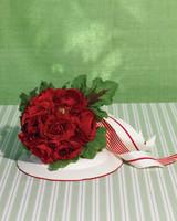 Red Ranunculus and Geranium Wedding Bouquet