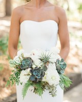 Succulent and air plant wedding bouquet